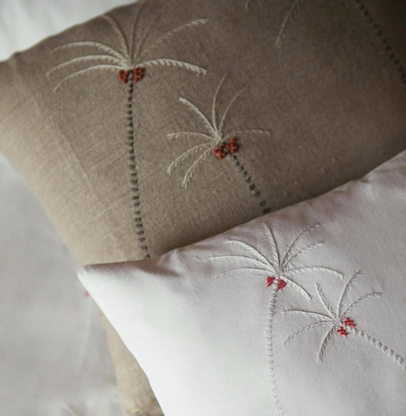 ROYAL PALM LINEN CUSHION COVER Cushion care-guide-delicate-30-no-tumble-dry, Hand Embroidered, Moodphotos missing, Variant Photos missing