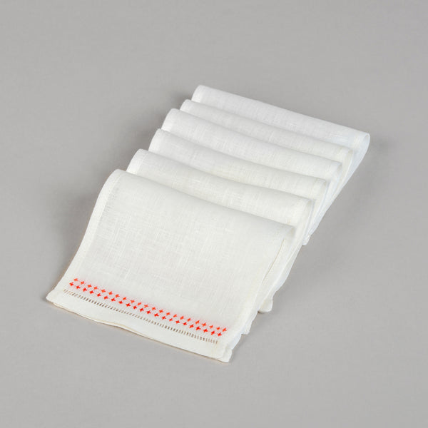 SHASHIKO LINEN COCKTAIL NAPKINS (Set of 6) Napkin care-guide-delicate-40, cocktail, Hand Embroidered, napkin, party, table