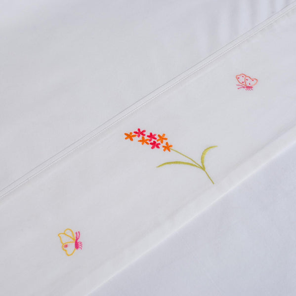 BUTTERFLY COT BEDDING Flat Sheet baby, baby-child-bed-linen-size-chart-cm-inches, care-guide-delicate-40, Children, Gift, Hand Embroidered
