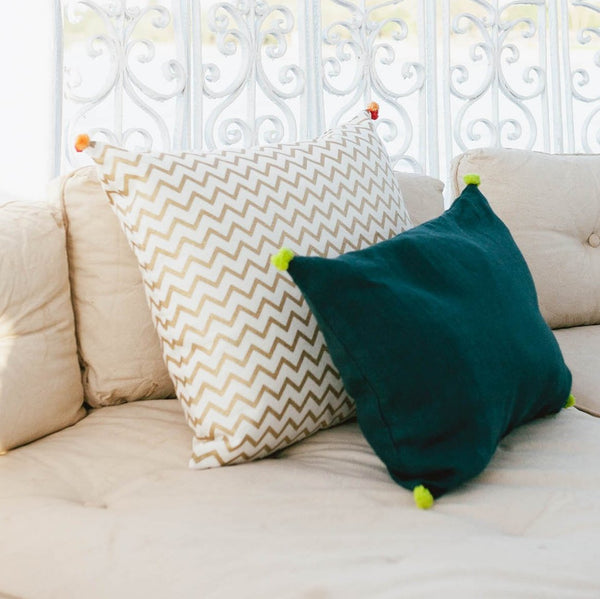 LINEN POMPOM CUSHION COVER
