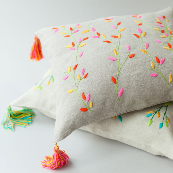 BRANCHES LINEN CUSHION COVER Cushion care-guide-delicate-30-no-tumble-dry, discount-20, Hand Embroidered