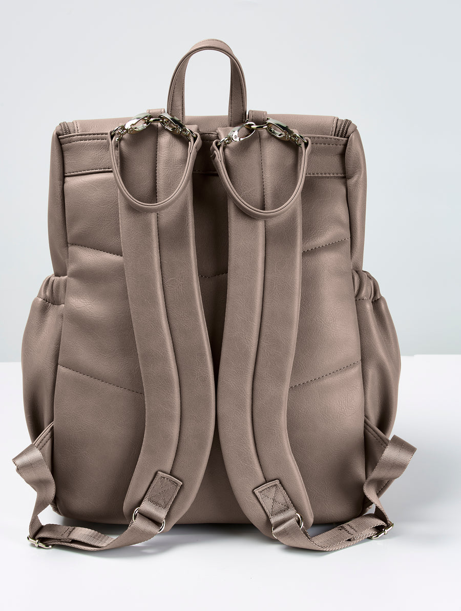 Faux Leather Nappy Backpack - Taupe
