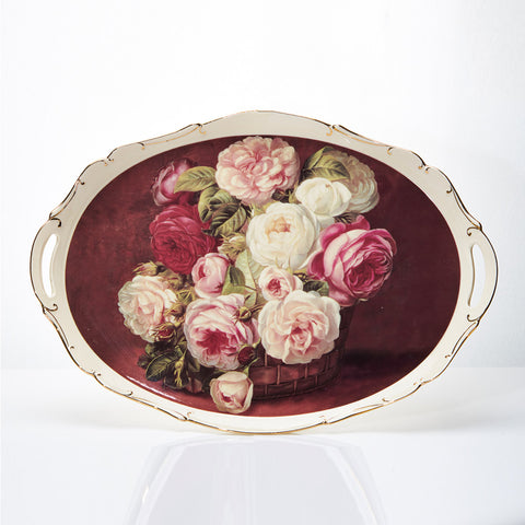 Nampan Capodimonte Red Rose