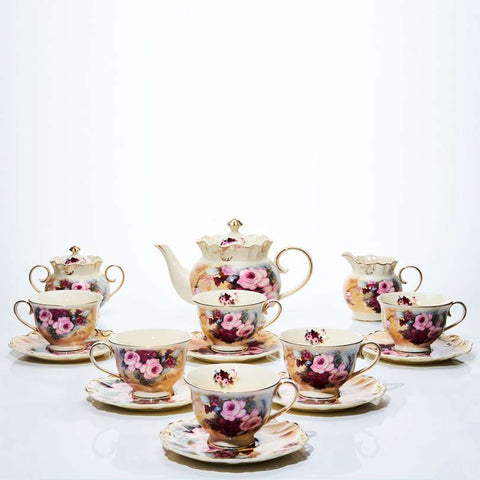 17 PCS Teaset Burgundy Rose Capodimonte / Tea Set