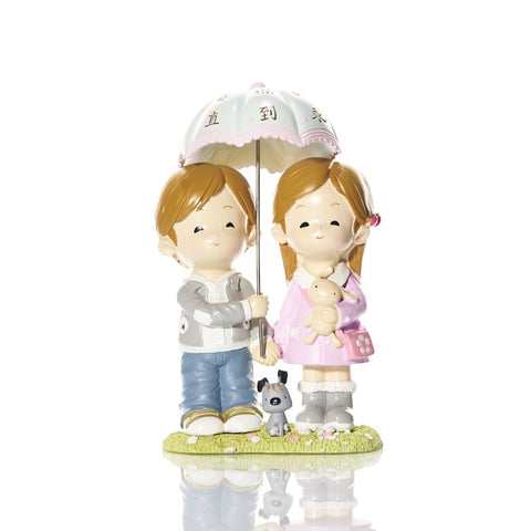 Boy & Girl Couple Figurine Umbrella