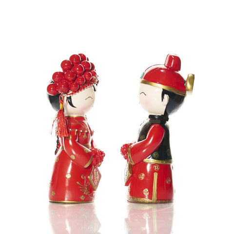 Happy China Boy & Girl Couple Figurine