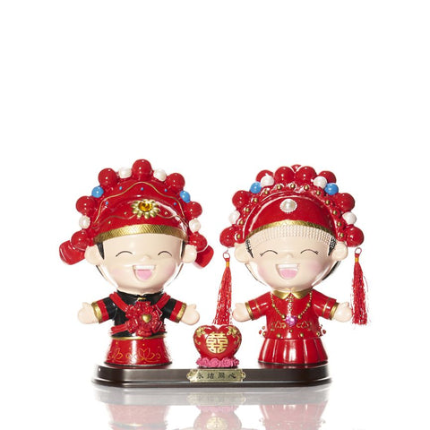 Happy China Boy & Girl Couple Figurine Love