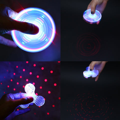 Fidget Spinner with Luminous Crystal and Bluetooth LoudSpeaker for iPhone and Android Rave Toy