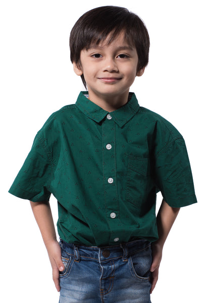 B.U.M Equipment Children Woven Shirt S/S (MD GREEN)