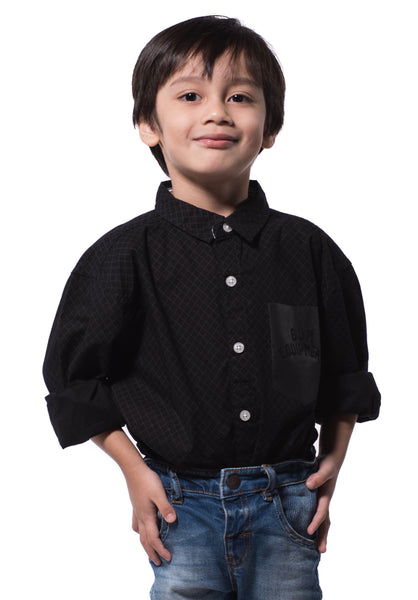 B.U.M Equipment Children Woven Shirt L/S (MD BLACK)