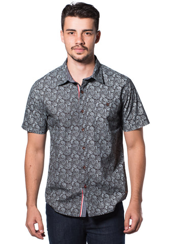 B.U.M Equipment Men Full Art S/S Woven Shirt  (DK. GREY)