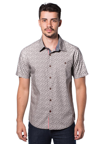 B.U.M Equipment Men Full Art S/S Woven Shirt  (LT. GREY)