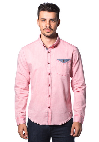 B.U.M Equipment Men L/S Woven Shirt  (MD PINK)