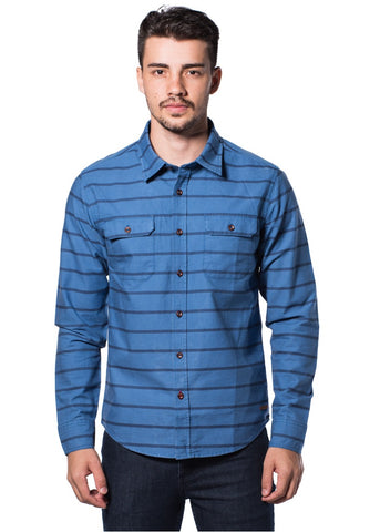 B.U.M Equipment Men Full Art S/S Woven Shirt  (MD. BLUE)