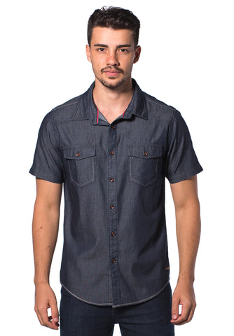 B.U.M Equipment Men S/S Woven Shirt  (MD NAVY)