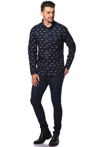 B.U.M Equipment Men Full Art L/S Woven Shirt  (MD NAVY)