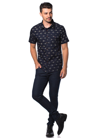 B.U.M Equipment Men Full Art S/S Woven Shirt  (MD NAVY)