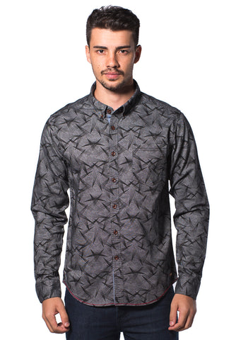 B.U.M Equipment Men Full Art L/S Woven Shirt  (MD GREY)