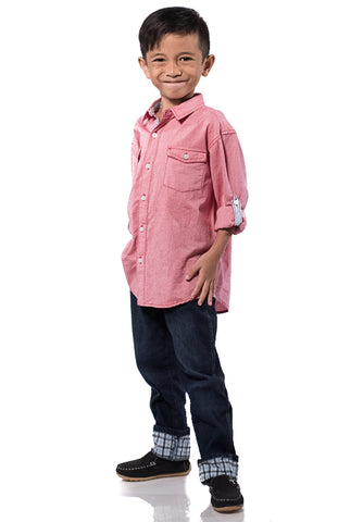 B.U.M Equipment Children Woven Shirt L/S (MD RED)