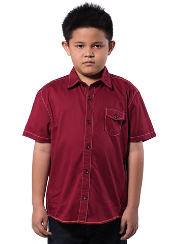 B.U.M Equipment Children Woven Shirt S/S (MD RED)
