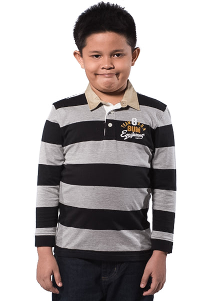 B.U.M Equipment Children POLO TEE-L/S (MD BLACK)