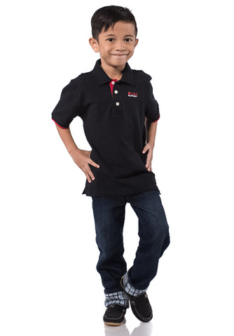 B.U.M Equipment Children POLO-S/S (MD BLACK)