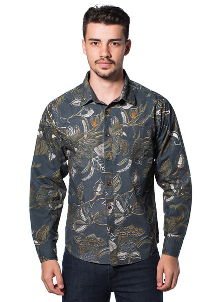B.U.M Equipment Men Full Art L/S Woven Shirt  (MD BLUE)