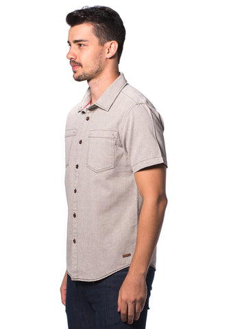 B.U.M Equipment Men S/S Woven Shirt  (MD GREEN)