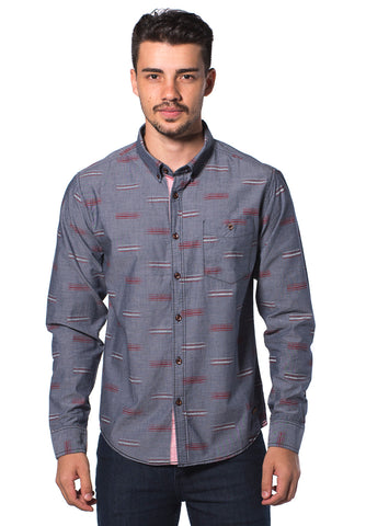 B.U.M Equipment Men Full Art L/S Woven Shirt  (MD BLACK)