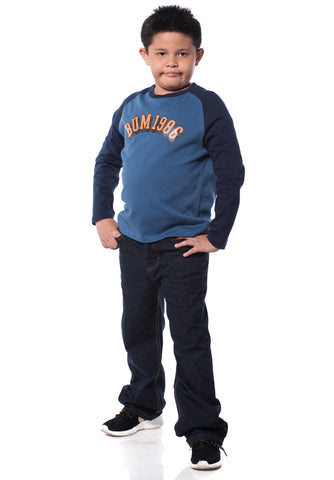 B.U.M Equipment Children Round Neck L/S (DK BLUE)
