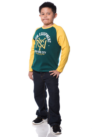 B.U.M Equipment Children Round Neck L/S (DK GREEN)
