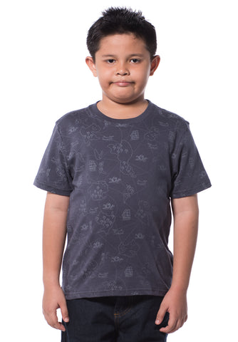 B.U.M Equipment Children S/S Round Neck-Full Print (DK GREY)