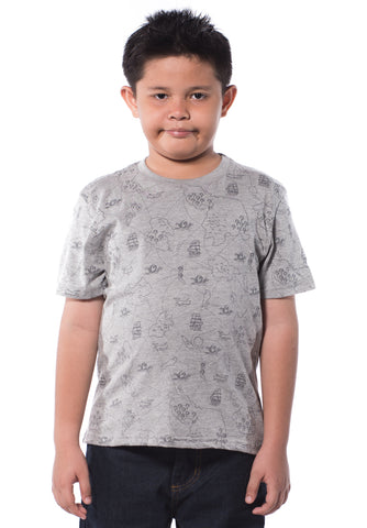 B.U.M Equipment Children S/S Round Neck-Full Print (MD GREY)