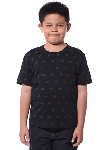 B.U.M Equipment Children S/S Round Neck-Full Print (MD BLACK)