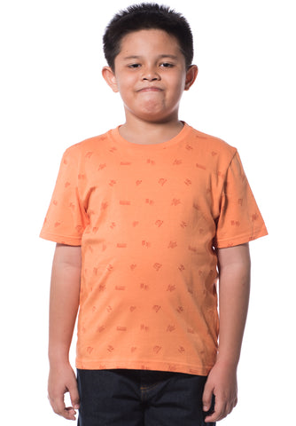 B.U.M Equipment Children S/S Round Neck-Full Print (MD ORANGE)