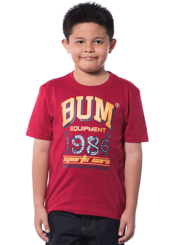 B.U.M Equipment Children Round Neck S/S (DK RED)