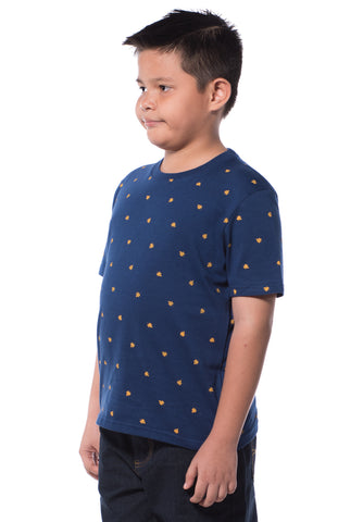 B.U.M Equipment Children S/S Round Neck-Full Print (MD BLUE)
