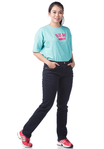B.U.M Equipment Ladies Jeans-Straight (MD BLUE)