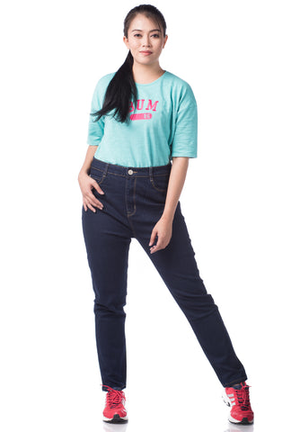 B.U.M Equipment Ladies Jeans-Slim Cut High Waist (DK BLUE)