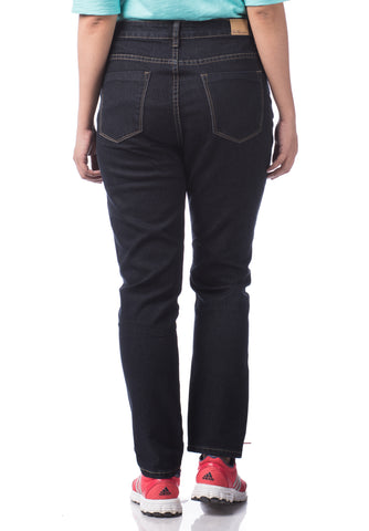 B.U.M Equipment Ladies Jeans-Slim Cut High Waist (MD BLACK)