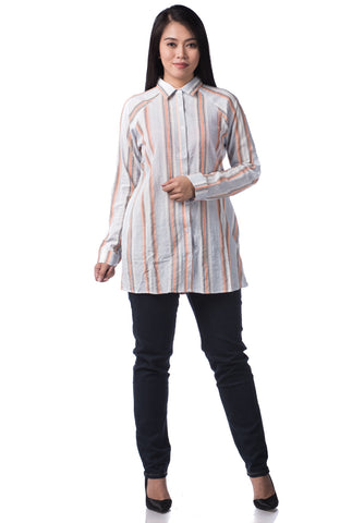 B.U.M Equipment Ladies Woven Shirt L/S (MD ORANGE)
