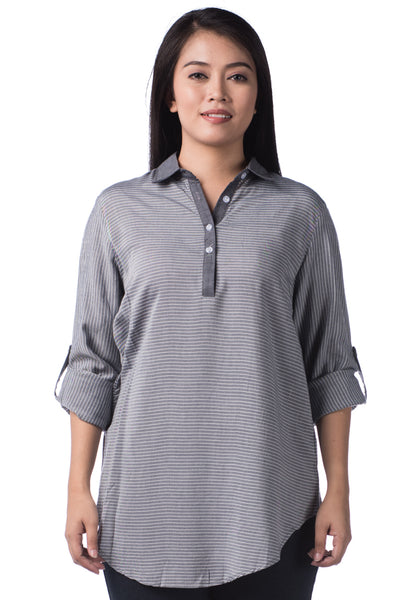 B.U.M Equipment Ladies Woven Shirt L/S (MD BLACK)