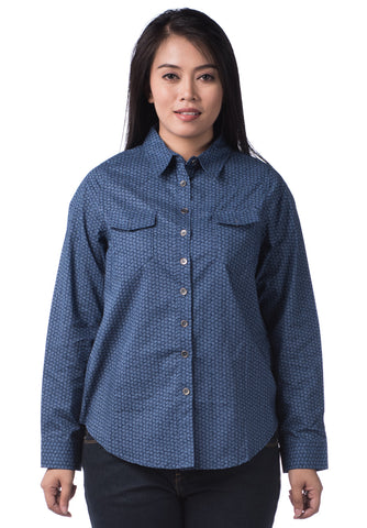 B.U.M Equipment Ladies Woven Shirt L/S (MD NAVY)