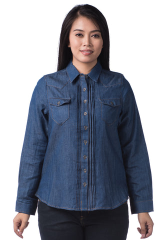 B.U.M Equipment Ladies Woven Shirt L/S (MD BLUE)