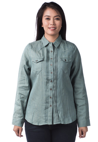 B.U.M Equipment Ladies Woven Shirt L/S (MD GREEN)