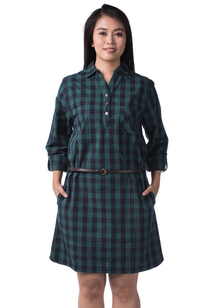 B.U.M Equipment Ladies Woven Dress L/S (MD GREEN)