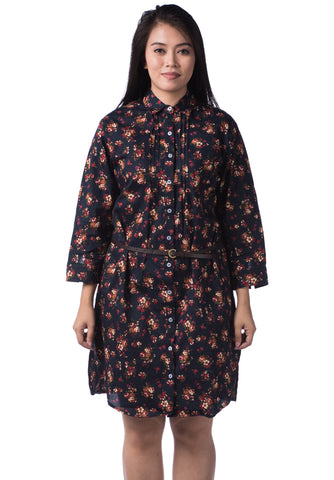 B.U.M Equipment Ladies Woven Dress L/S (MD NAVY)
