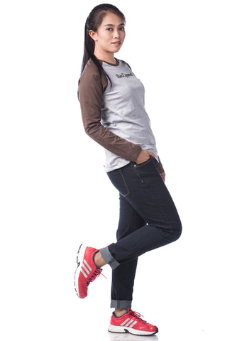 B.U.M Equipment Ladies Round Neck-Raglan L/S (LT GREY)