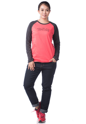 B.U.M Equipment Ladies Round Neck-Raglan L/S (DK PINK)