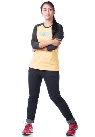 B.U.M Equipment Ladies Round Neck-Raglan L/S (MD YELLOW)